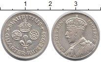 Изображение Монеты Маврикий 1/4 рупии 1934 Серебро XF Георг V