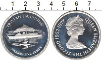Изображение Монеты Великобритания Тристан-да-Кунья 25 пенсов 1977 Серебро Proof-