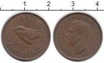 Изображение Монеты Великобритания 1 фартинг 1947 Бронза XF Птица,Георг VI