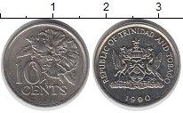 Изображение Монеты Тринидад и Тобаго 10 центов 1990 Медно-никель UNC-
