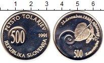 Изображение Монеты Европа Словения 500 толаров 1991 Серебро Proof-