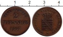 Изображение Монеты Германия Саксен-Майнинген 2 пфеннига 1867 Медь XF