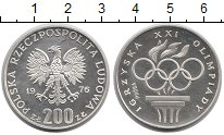 Изображение Монеты Польша 200 злотых 1976 Серебро Proof- Олимпийские игры