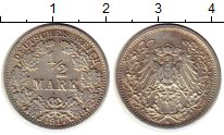 Изображение Монеты Европа Германия 1/2 марки 1917 Серебро XF