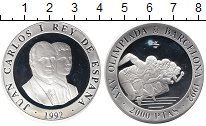 Изображение Монеты Европа Испания 2000 песет 1992 Серебро Proof