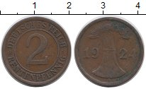 Изображение Дешевые монеты Веймарская республика 2 пфеннига 1924 Медь XF-
