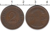 Изображение Дешевые монеты Веймарская республика 2 пфеннига 1924 Медь XF- А