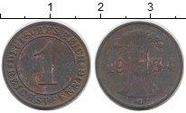 Изображение Дешевые монеты Германия 1 пфенниг 1934 Медь