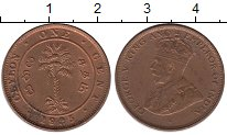Изображение Монеты Цейлон 1 цент 1925 Бронза XF+