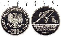 Изображение Монеты Польша 200 злотых 1980 Серебро Proof- Зимняя Олимпиада-80
