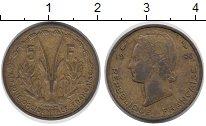 Изображение Монеты Западная Африка 5 франков 1956 Латунь VF
