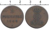 Изображение Монеты Германия Ганновер 2 пфеннига 1840 Медь XF