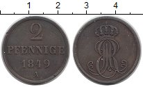 Изображение Монеты Ганновер 2 пфеннига 1849 Медь XF А