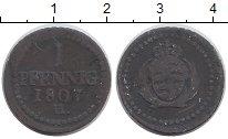 Изображение Монеты Германия Саксония 1 пфенниг 1807 Медь VF