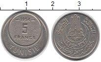 Изображение Монеты Африка Тунис 5 франков 1954 Медно-никель UNC-