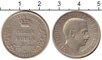 Изображение Монеты Италия Итальянская Сомали 1/2 рупии 1910 Серебро VF+