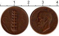 Изображение Монеты Европа Италия 5 сентесим 1920 Медь XF