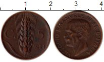 Изображение Монеты Европа Италия 5 сентесим 1924 Медь XF