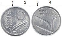 Изображение Монеты Италия 10 лир 1954 Алюминий XF Колос Плуг