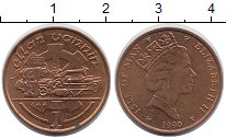 Изображение Монеты Остров Мэн 1 пенни 1990 Медь UNC-