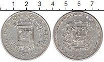 Изображение Монеты Доминиканская республика 1 песо 1972 Серебро UNC- 25 лет банка