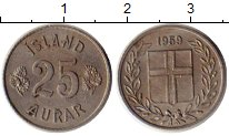 Изображение Монеты Исландия 25 аурар 1959 Медно-никель XF