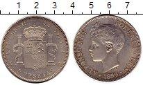Изображение Монеты Европа Испания 5 песет 1899 Серебро UNC-