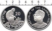 Изображение Монеты Гамбия 20 даласи 1987 Серебро Proof Мартышка