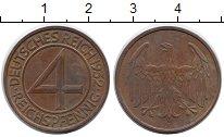 Изображение Монеты Германия Веймарская республика 4 пфеннига 1932 Бронза XF