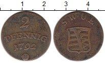Изображение Монеты Германия Саксония 2 пфеннига 1792 Медь XF-