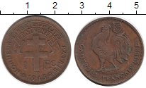 Изображение Монеты Африка Камерун 1 франк 1943 Бронза XF