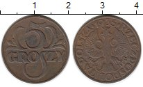 Изображение Монеты Польша 5 грош 1935 Бронза XF