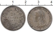 Изображение Монеты Нидерланды 25 центов 1897 Серебро XF-