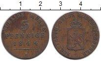 Изображение Монеты Германия Рейсс-Шляйц 3 пфеннига 1844 Медь XF-