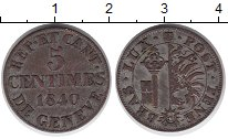 Изображение Монеты Швейцария Женева 5 сантим 1840 Серебро XF-