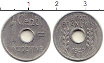 Изображение Монеты Индокитай 1 цент 1943 Алюминий VF Французский Индокита