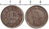 Изображение Монеты Европа Швейцария 1 франк 1944 Серебро XF