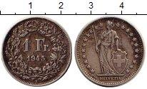 Изображение Монеты Европа Швейцария 1 франк 1945 Серебро XF