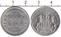 Изображение Монеты Германия Гамбург 200000 марк 1923 Алюминий UNC-
