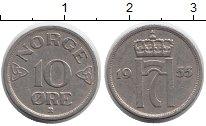 Изображение Монеты Европа Норвегия 10 эре 1955 Медно-никель XF