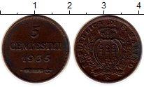 Изображение Монеты Сан-Марино 5 сентесим 1935 Медь XF