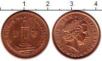 Изображение Монеты Остров Мэн 1 пенни 2014 Медь UNC-