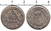 Изображение Монеты Германия 1/2 марки 1916 Серебро XF J