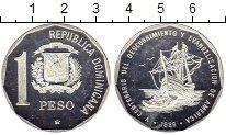Изображение Монеты Северная Америка Доминиканская республика 1 песо 1989 Серебро Proof-