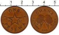 Изображение Монеты Африка Гана 1 песева 1967 Бронза XF