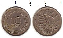 Изображение Монеты Азия Сингапур 10 центов 1970 Медно-никель XF