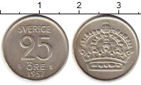 Изображение Монеты Европа Швеция 25 эре 1957 Серебро XF