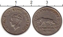 Изображение Монеты Азия Индия 1/4 рупии 1946 Медно-никель XF