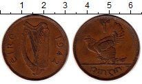 Изображение Монеты Ирландия 1 пенни 1942 Бронза XF Курица