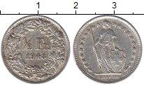 Изображение Монеты Европа Швейцария 1/2 франка 1948 Серебро XF